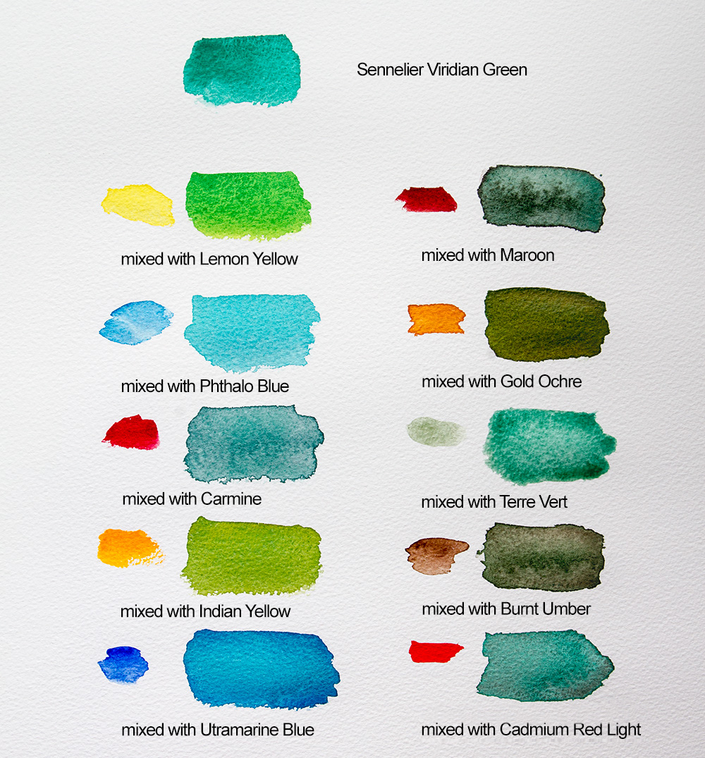 Choosing colours to fill your watercolour box jacksons art blog mixing colours with viridian geenschuldenfo Image collections