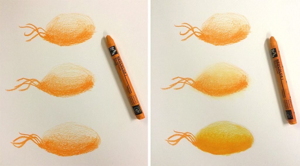 Caran d'Ache Neocolor 1 in Orange. It is the hardest and driest of the three, almost like coloured pencil. Left column is unblended. Right column is: Top: unblended Middle: finger blended Bottom: solvent blended