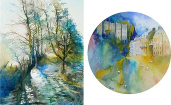 'Sun Rising Over Water' and 'Bath Dreaming' watercolours by Catherine Beale who is showing