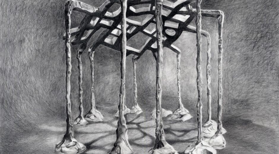 Bones Eleanor Bedlow pencil and oil pencil on paper, 101.6 x 76.5cm, 2016