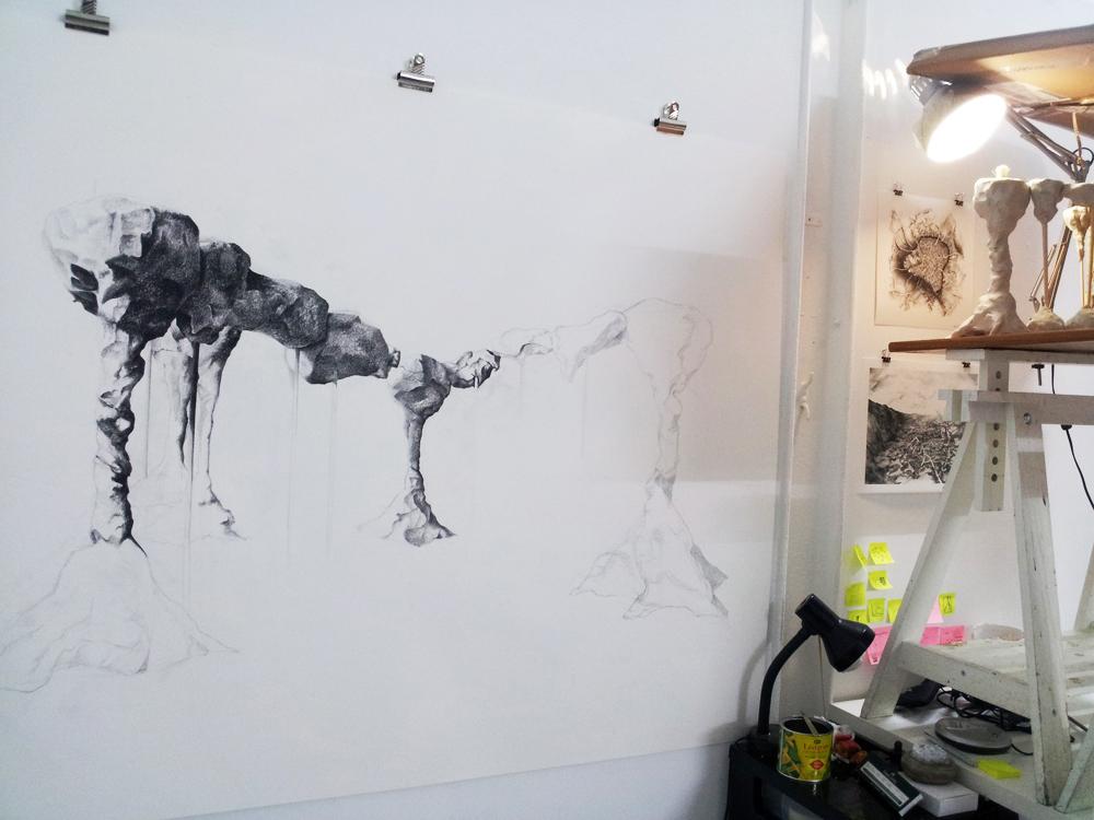Studio image, work in progress Eleanor Bedlow
