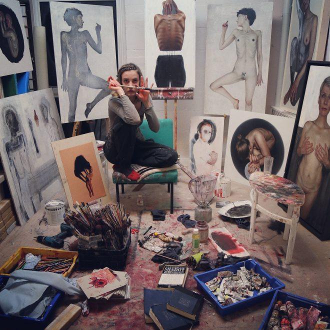 Artist Emma Hopkins in her studio
