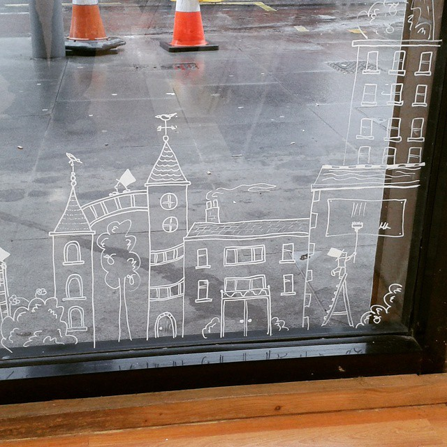 Part of H Locke's very large drawing on the windows of the 'Colourful Language' exhibition at Hoe Street Central, East London, 2015