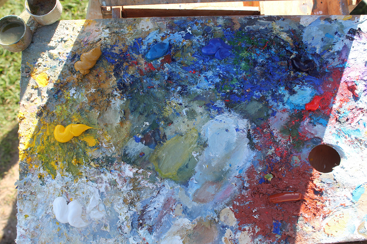 2. Paint laid out on the palette