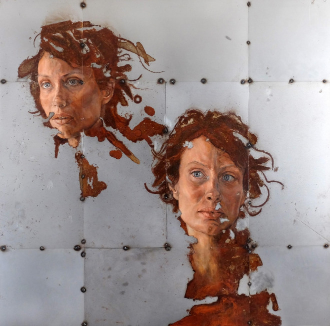 Da Un'Altra Parte Sabatino Cersosimo Oil and Oxidations on 5 weld, 100x100 cm, 2016