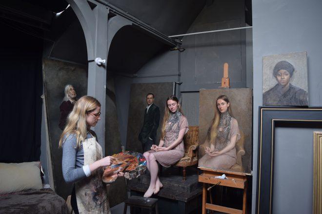 Artist Isabella Watling at work