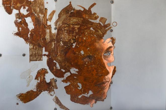 Fregio (Fourth Movement – Aqua) Sabatino Cersosimo Oil and oxidations on 5 welded steel plates, 50x75 cm, 2016