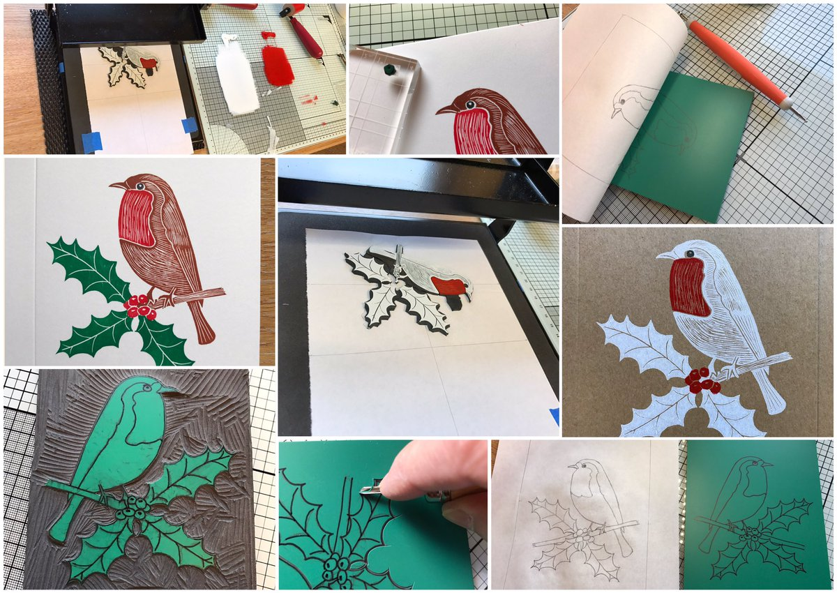 be inspiredthese great linocut christmas cards