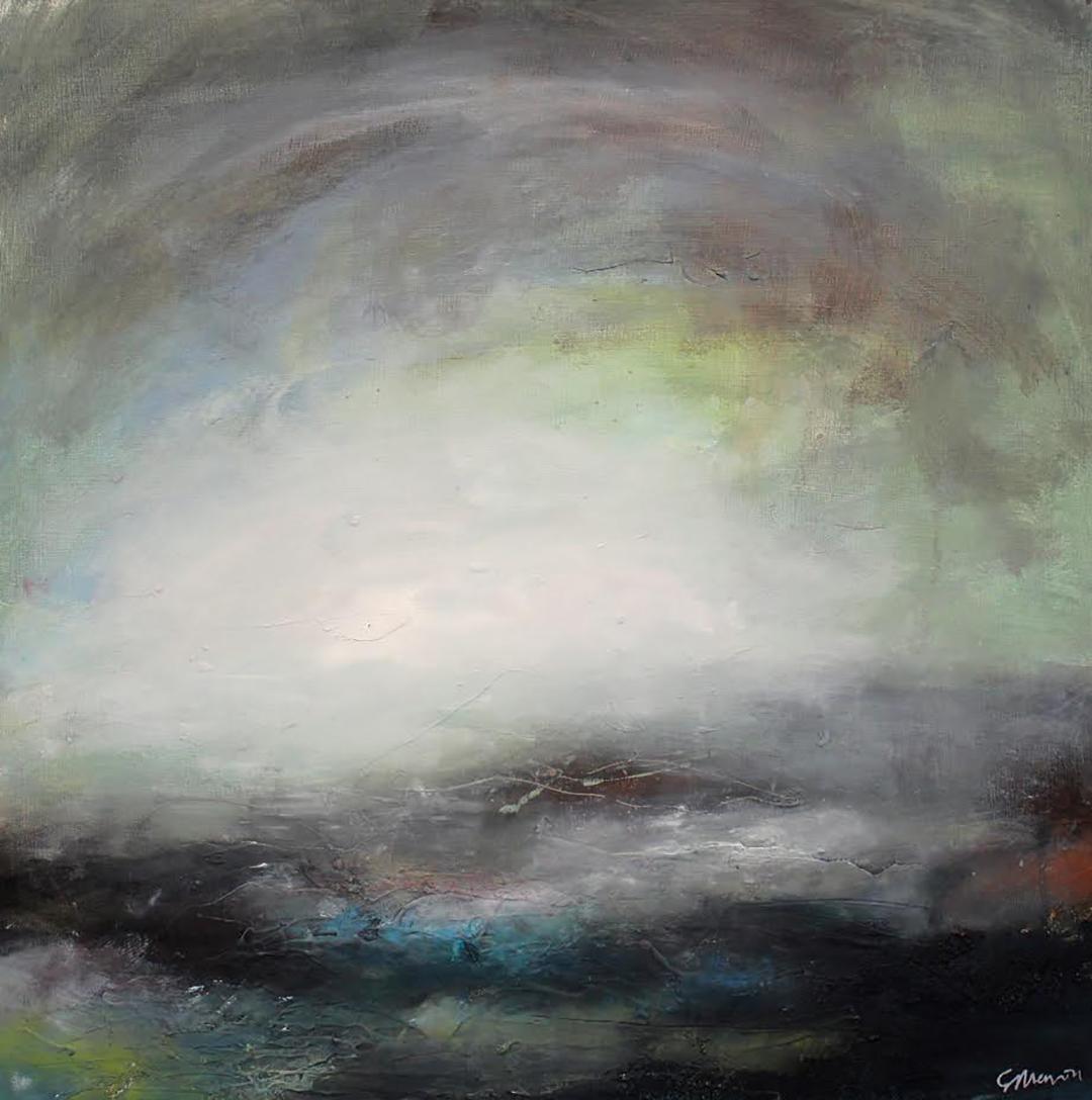 'Dusk Green' (Mixed media on board) by Georgie Mason.