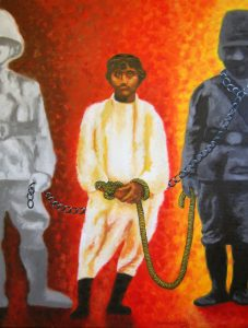 Kanwal Dhaliwal, 'The Pioneer of Freedom: Portrait of Khudiram Bose', oil on canvas, 92x122cm, 2014