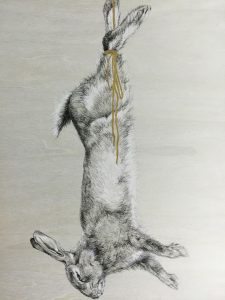 Laura New, 'One String Too Many'pencil, ink, chalk and gold paint on wood panel