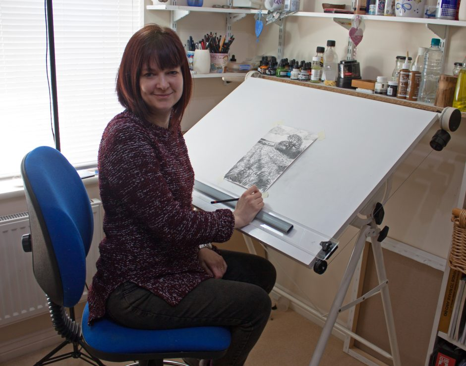 Alice Hole at the drawing board