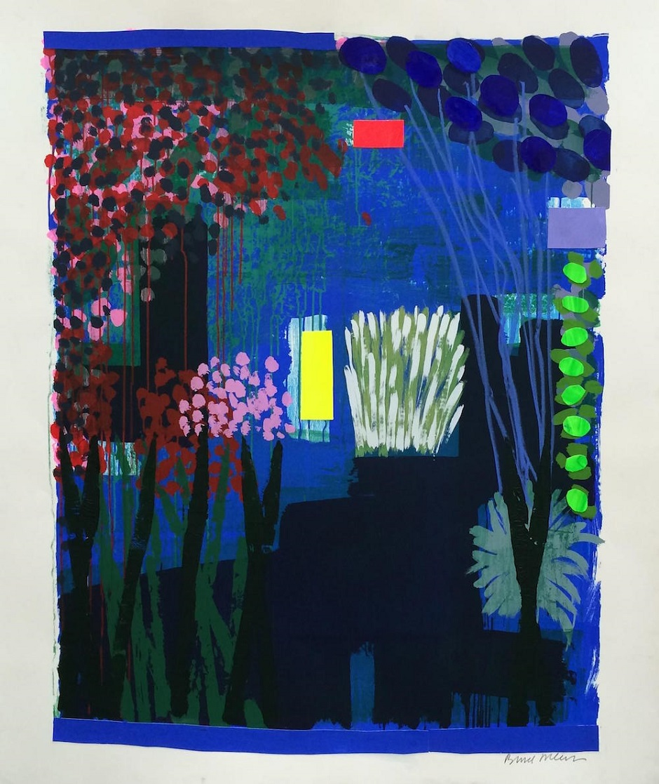 Lemon Light Garden by Bruce Mclean Monotype with hand painted embellishments, 140cm x 175cm, 2016
