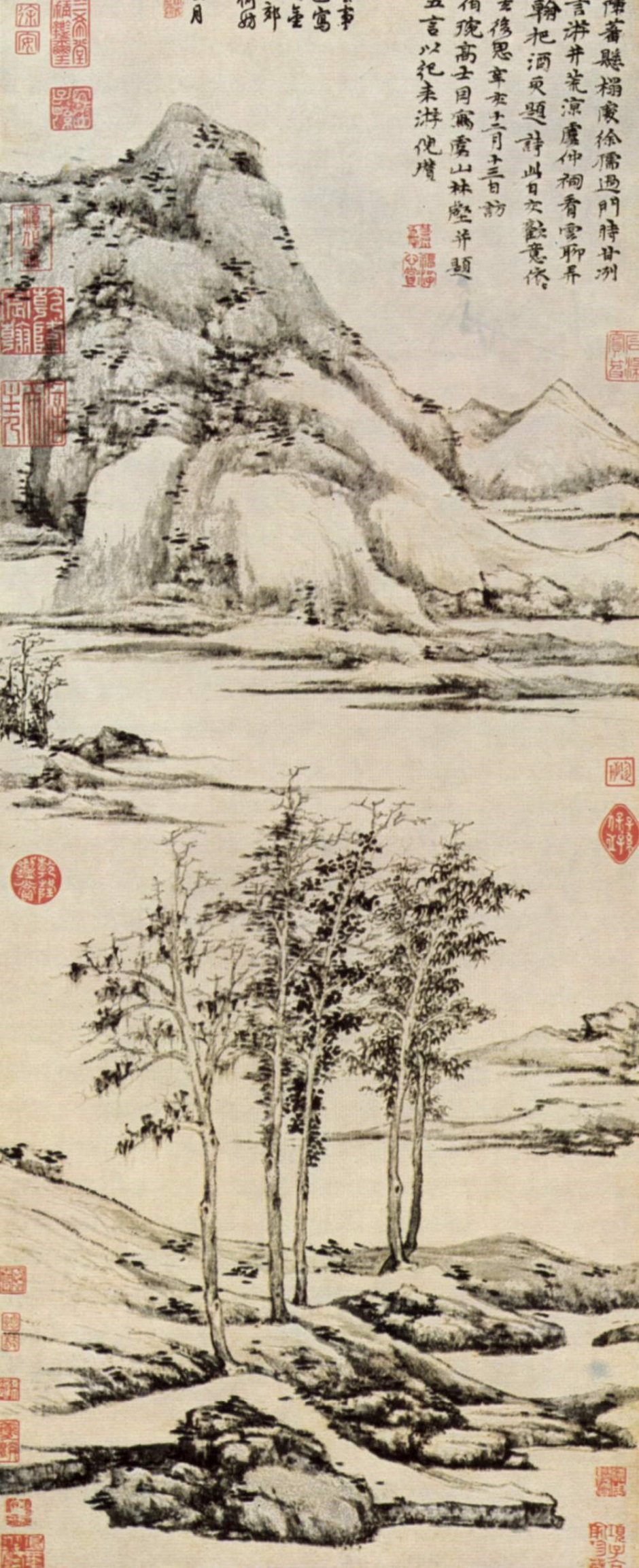 Trees in a river valley in Yu-shan Ni Tsan Indian Ink on Paper, 95.3 × 35.8 cm, 1371