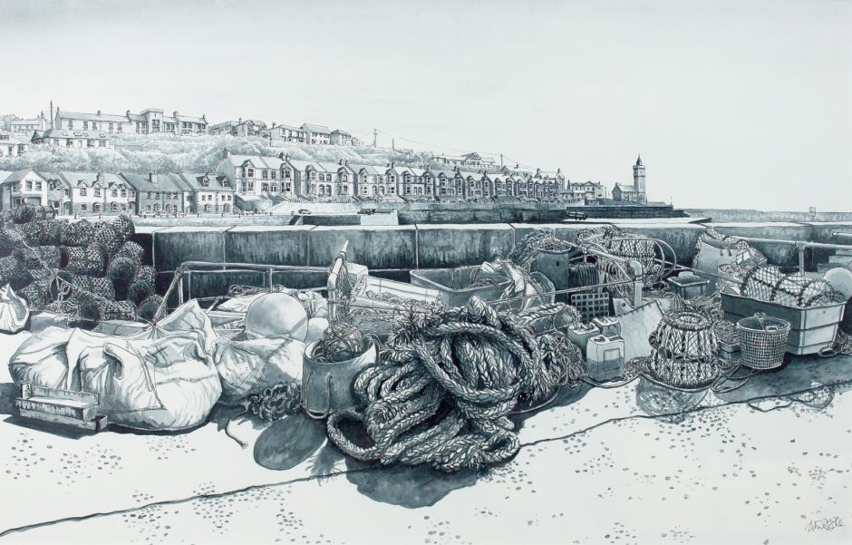 Porthleven Harbour Alice Hole Acrylic ink on paper, 55.5 x 35.5cm, 2015