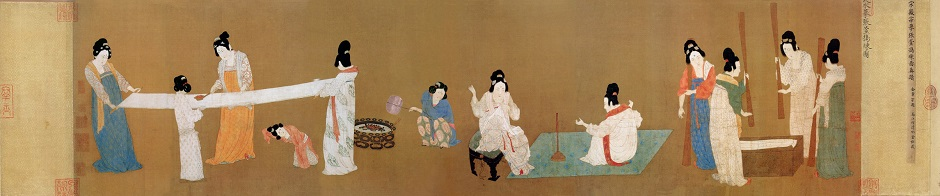 'Court Ladies Preparing Newly Woven Silk' Zhang Xuan Handscroll, ink, color, and gold on silk, 37.1 x 145 cm, Museum of Fine Arts, Boston