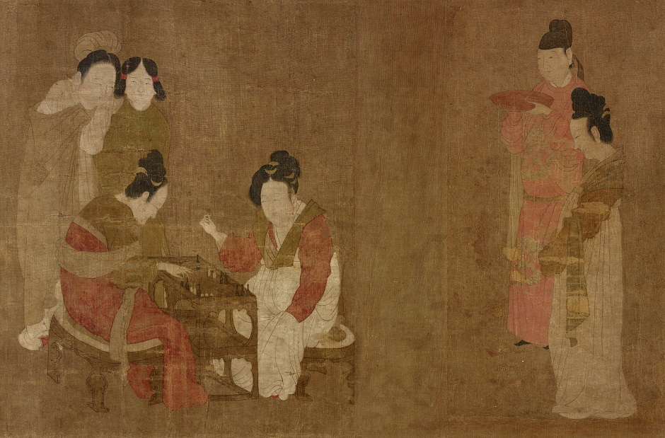 (Artist) Traditionally attributed to Zhou Fang; (Calligrapher) Chu Deyi , frontispiece and colophon; China; late 12th to mid-13th century; Ink and color on silk; H x W (overall image): 30.5 x 69.1 cm (12 x 27 3/16 in); Purchase