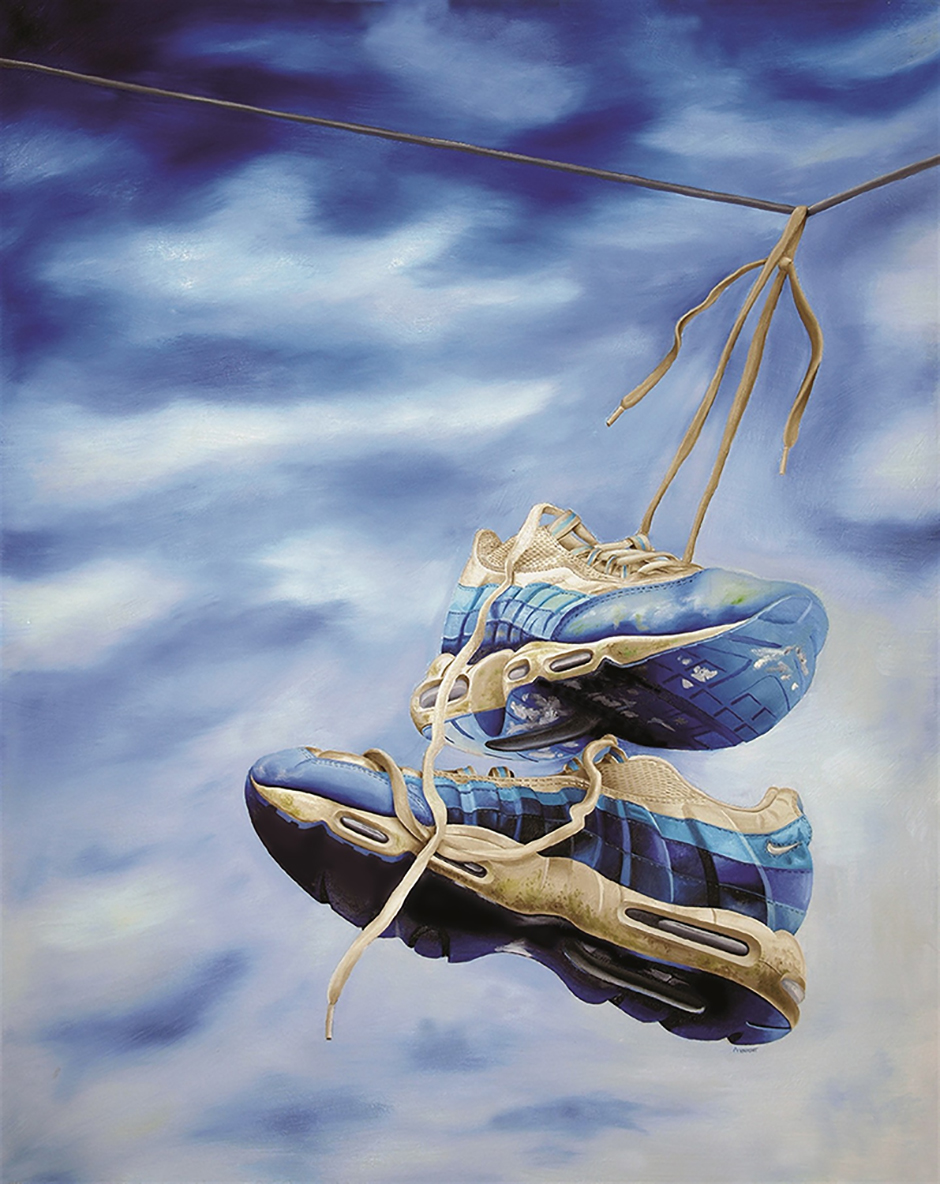 "'Nikes on a Wire' Anth Knight Oil on canvas, 40""x32"", 2011"