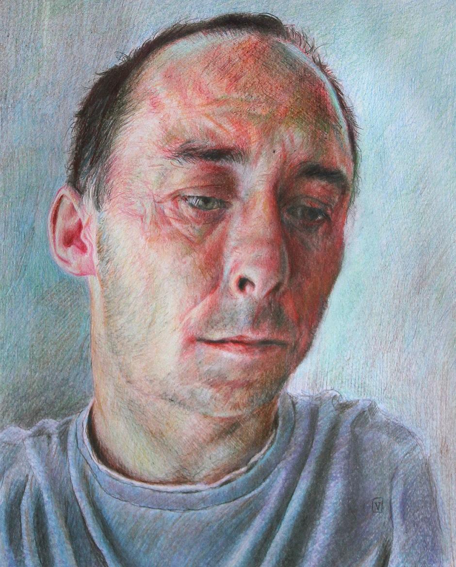 Self portrait Vincent Brown Pencil crayons on paper, 28 x 20cm, 2015