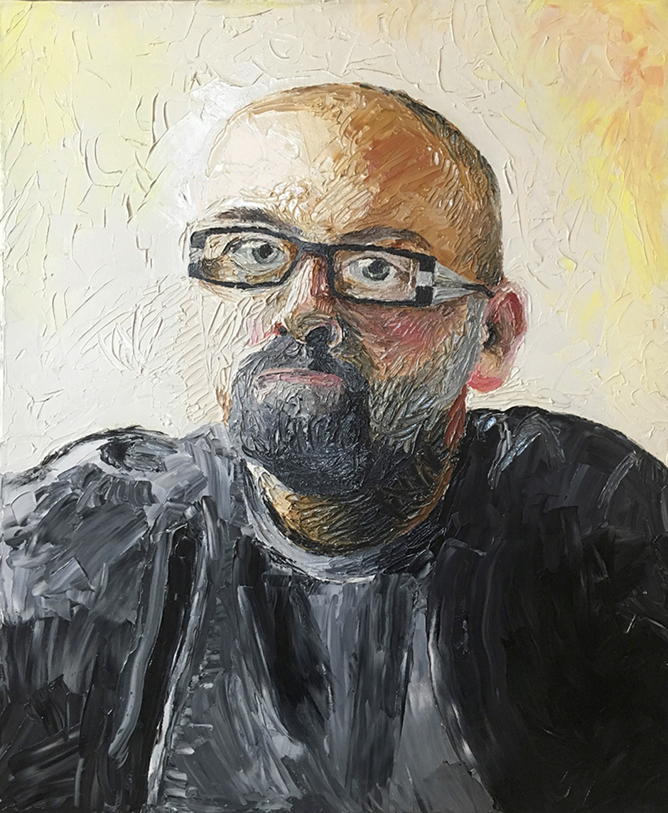 "Self Portrait Anth Knight Oil on canvas, 16""x20"", 2011"