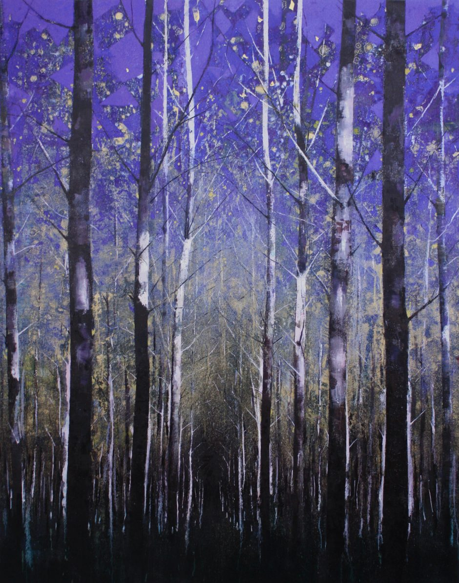 Forest, Blue and Gold Nicholas Archer oil on canvas, 168cmx 132cm, 2016