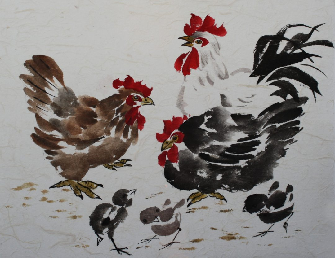 Hen Party Maggie Cross Chinese Watercolour on paper