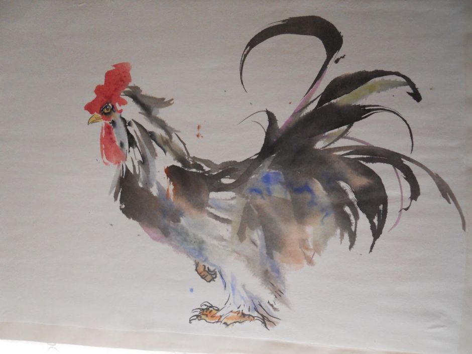 Happy New year of the Rooster to You Jane Dwight Chinese Watercolour on Mulberry bark paper, 2016