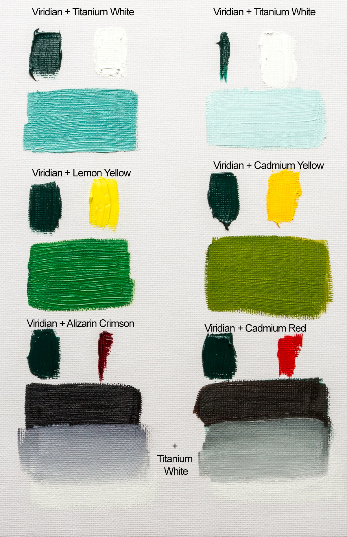Colour mixing with williamsburg viridian oil paint jacksons art williamsburg viridian has about the tinting strength of a yellow this chart shows that equal parts viridian and white make a lovely sea green nvjuhfo Image collections