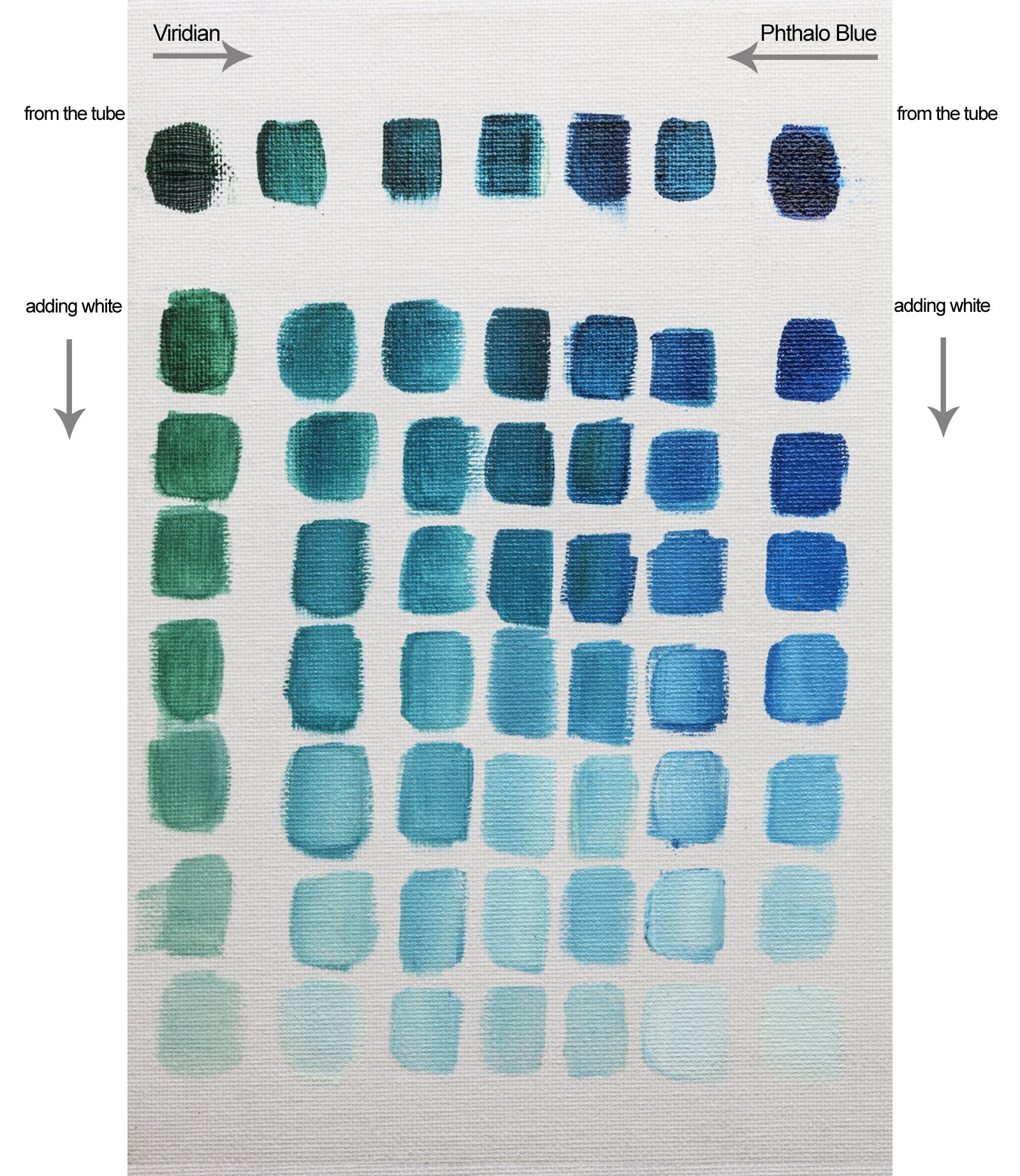 Colour mixing with williamsburg viridian oil paint jacksons art williamsburg viridian mixing with phthalo blue makes a range of sea greens and turquoise blues note my first chart was this phthalo blue board and i had nvjuhfo Choice Image