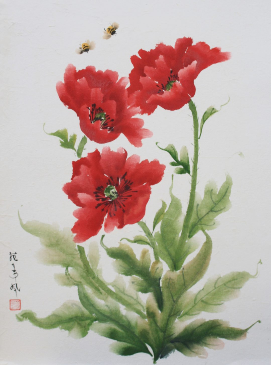 Oriental Poppies Maggie Cross Chinese Watercolour on paper