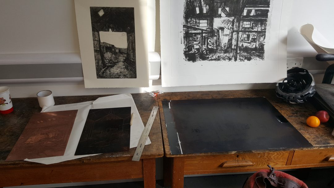 Inside Jemma Gunning's studio: plates ready for etching with proofs hanging on the wall