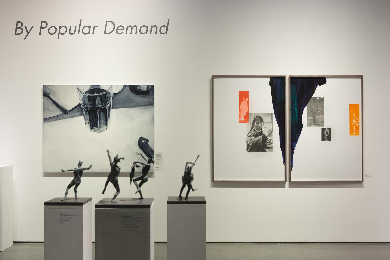 Installation shot at 'By Popular Demand', Mall Galleries, London (background left: 'Flux' by Nicholas McLeod; background right: 'Performer' by Aishan Yu; foreground: 'Two Maenads with Bird', 'Maenad with Drum' and 'Dancing Maenad' by Tim Shaw RA)