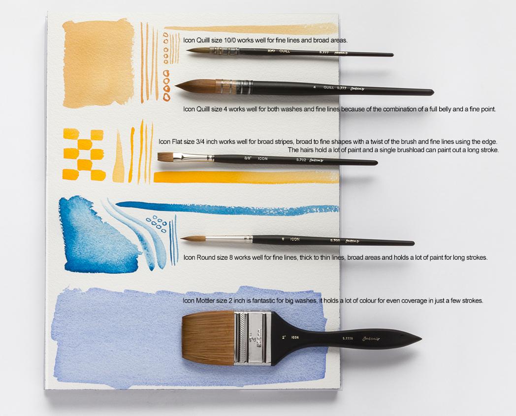 Jackson's Icon Sable Synthetic Mix watercolour brushes
