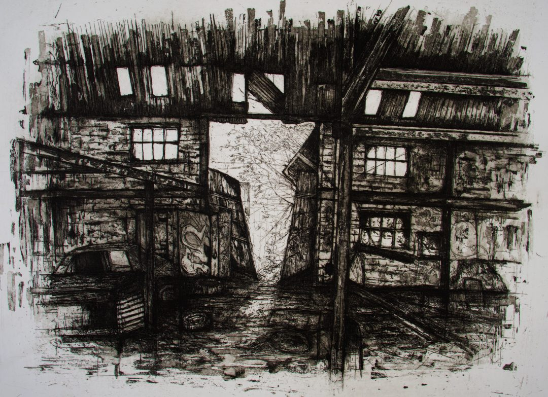 Mc Arthur Warehouse (work in progress) Jemma Gunning Stone lithograph combined with hardground etching, 2017