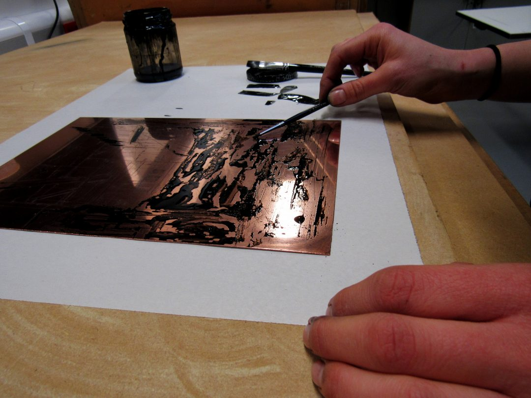 Applying Sugar Lift to a Copper Etching Plate