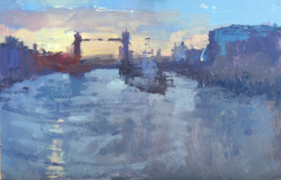 Sunrise from London Bridge Benjamin Hope Oil on board, 20 x 30cm, 2017