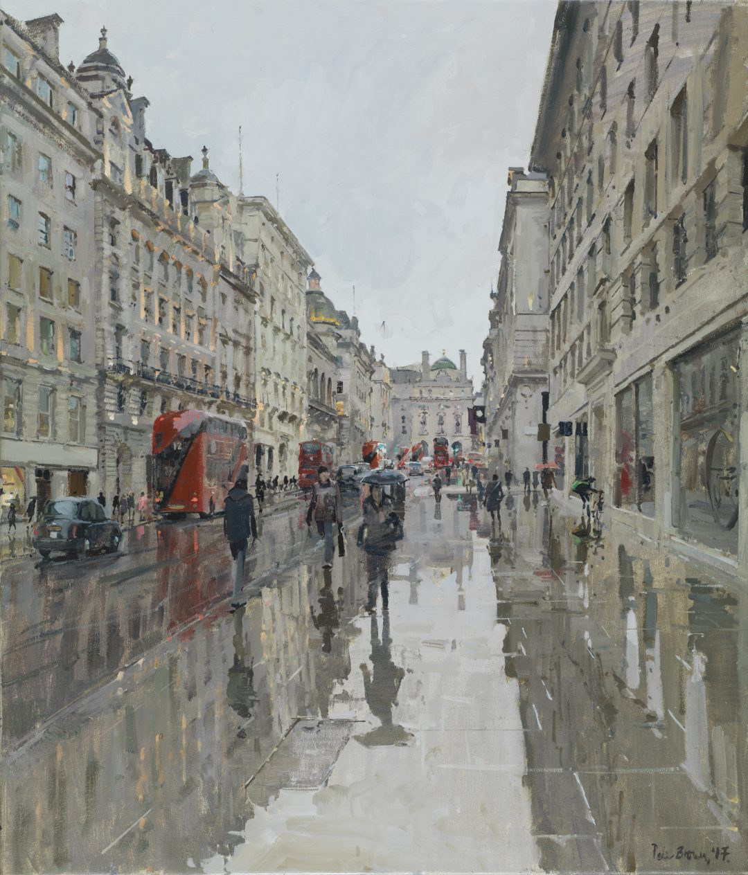 "Lower Regent Street, Rain Peter Brown Oil on canvas, 35"" x 30"", 2017"