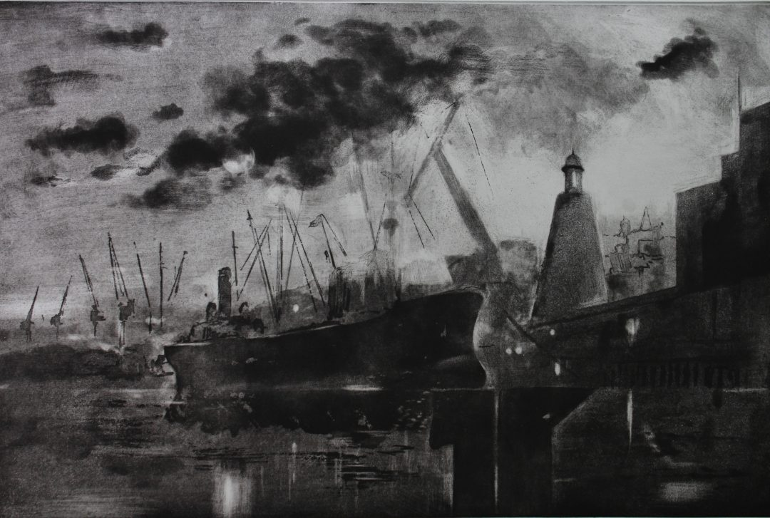 Ghost Ships Nick Richards Etching, 37 x 29cm, 2008