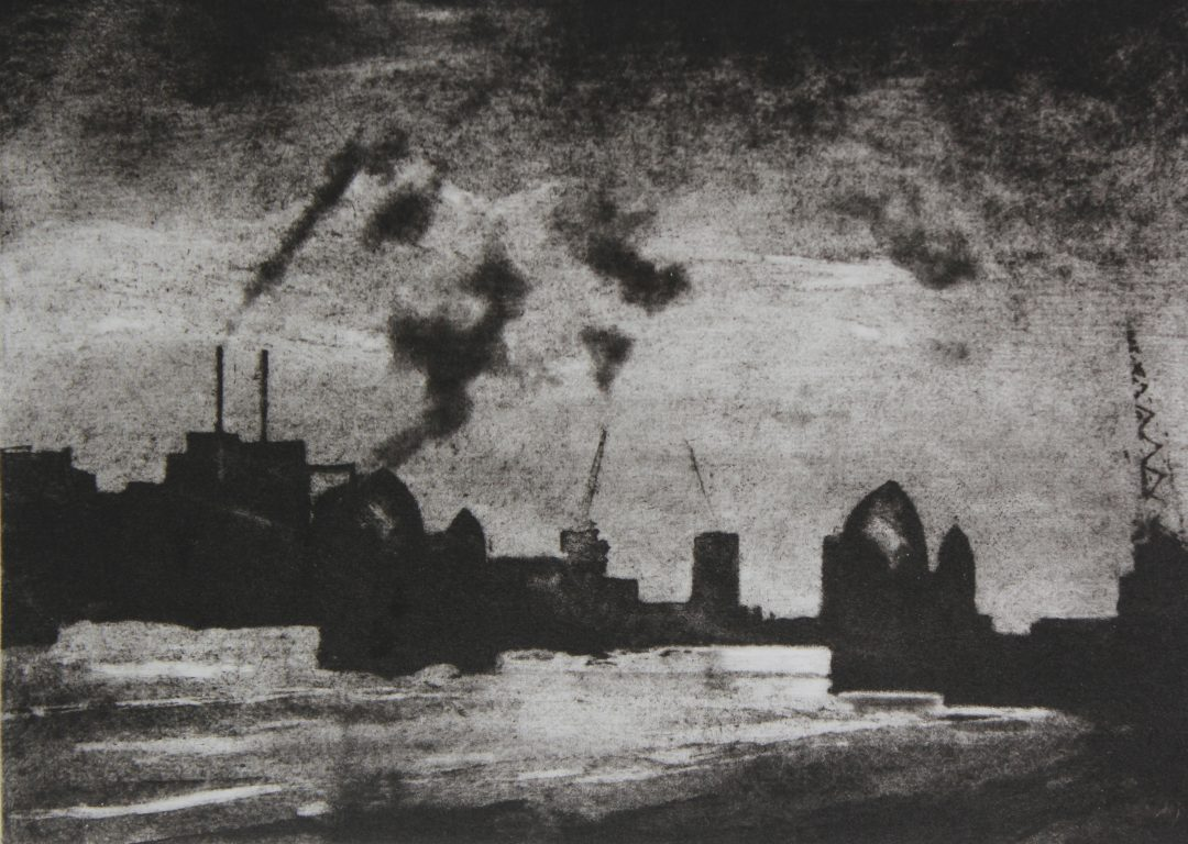 Thames Barrier Nick Richards Etching, 24 x 18cm, 2012