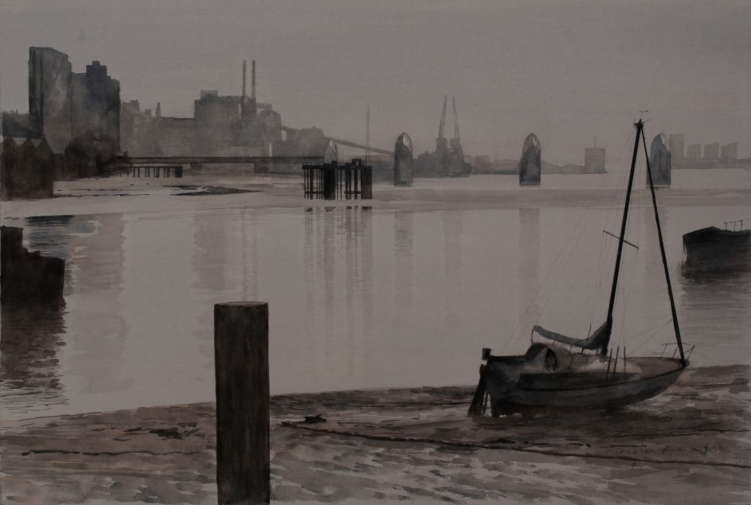 Low Water on the Thames Nick Richards watercolour, 2012