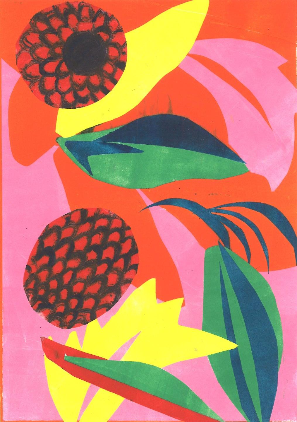 Atomic Fruit Rebecca Roscorla Monotype, 29.5 x 21 cms, 2017