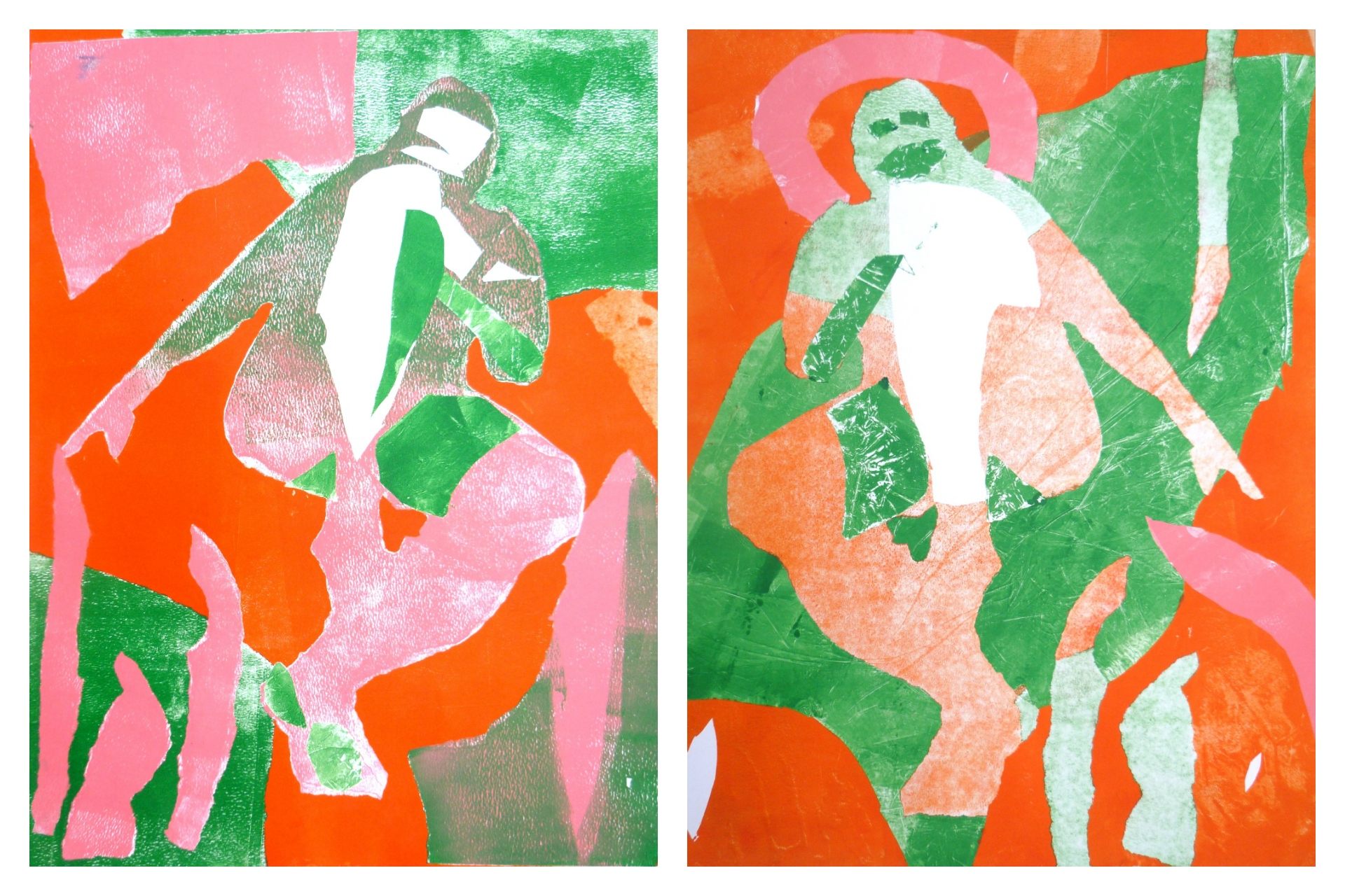 Reclining man in orange, green and pink (left and right) Rebecca Roscorla Monotype, each 54 x 41 cms, 2016