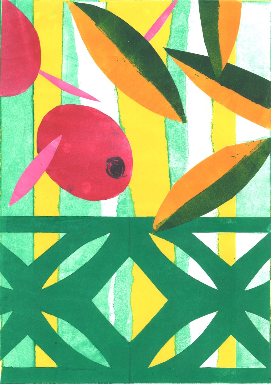 Green Balustrade Rebecca Roscorla Monotype, 29.5 x 21 cms, 2017