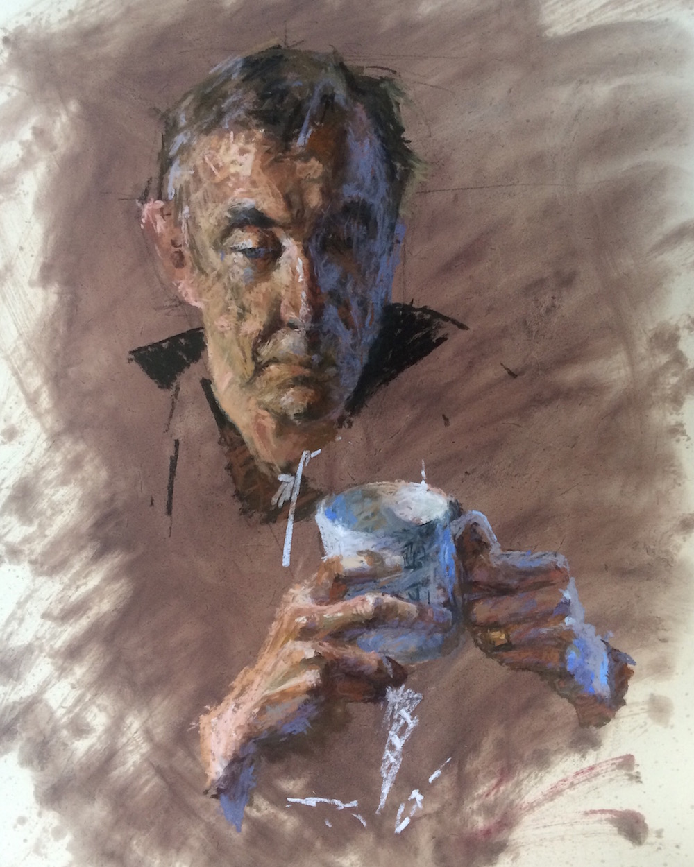 Dad with Thoughts and Tea Benjamin Hope Pastel, 40 x 55 cm, 2016