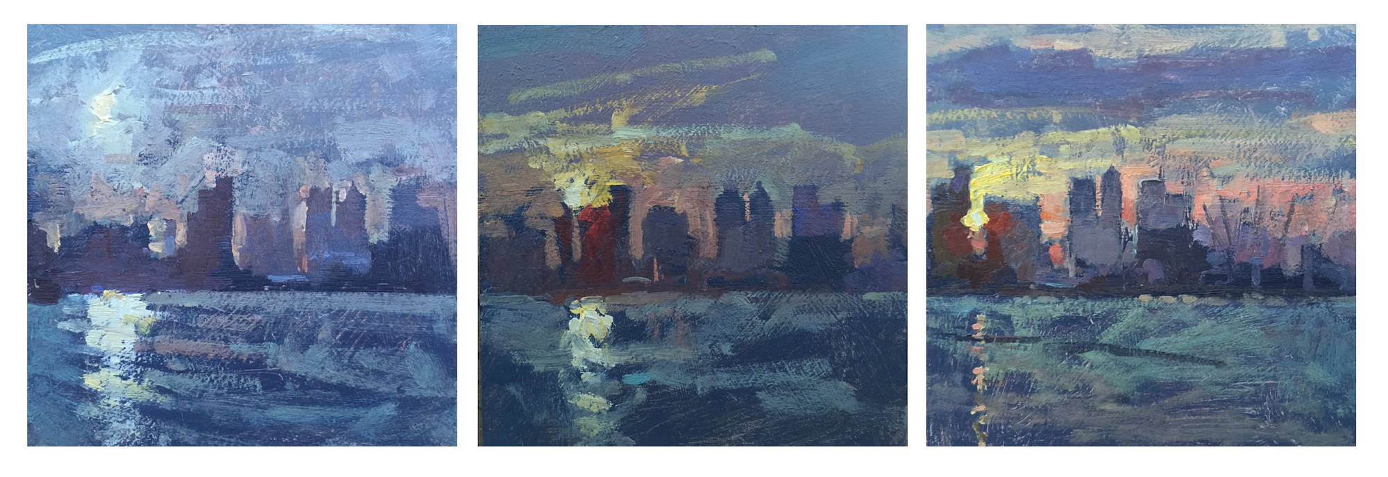 Canary Wharf Sunset Series Benjamin Hope Oil on board, 3 x [15 x 15 cm], 2017