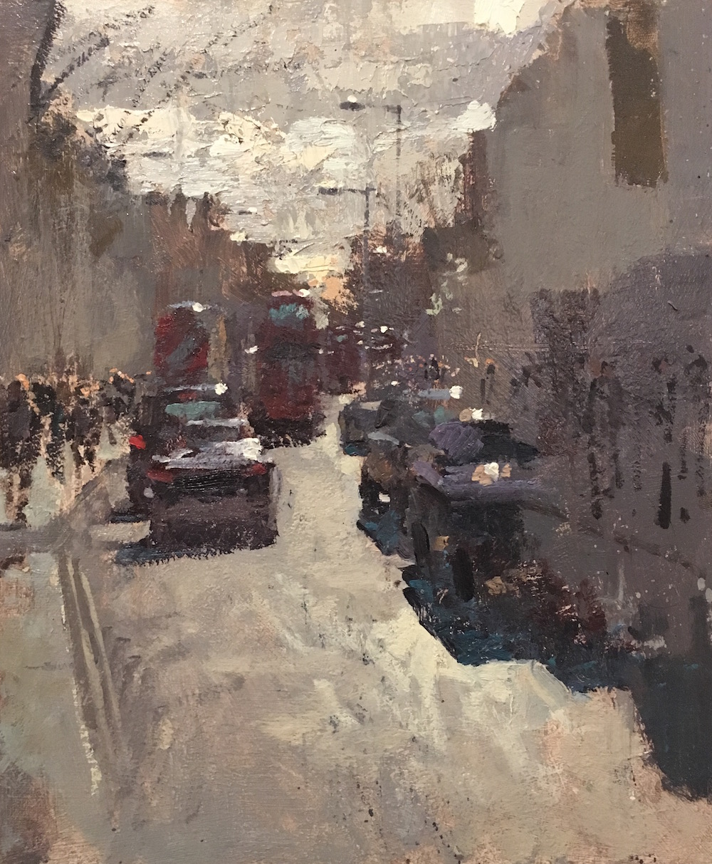 King's Road, Saturday Afternoon Benjamin Hope Oil on board, 25 x 30 cm, 2017