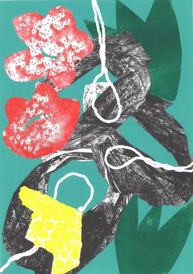 Red Brail Flowers Rebecca Roscorla Monotype, 29.5 x 21 cms, 2016