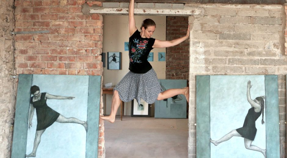 Culture Action Llandudno residency, 2016. Contemporary dancer Angharad Harrop recreating a pose at the end of the FreeHaus art school project.