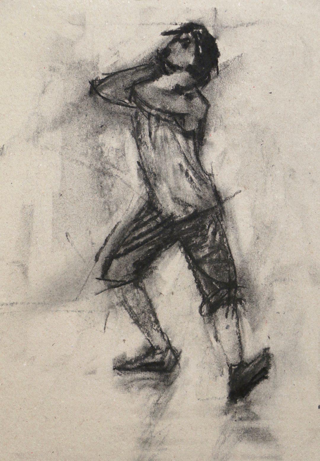 Ballet Cymru rehearsal 27(Miguel Fernandes) Carl Chapple Charcoal on cardboard, 21cm x 29cm, 2017