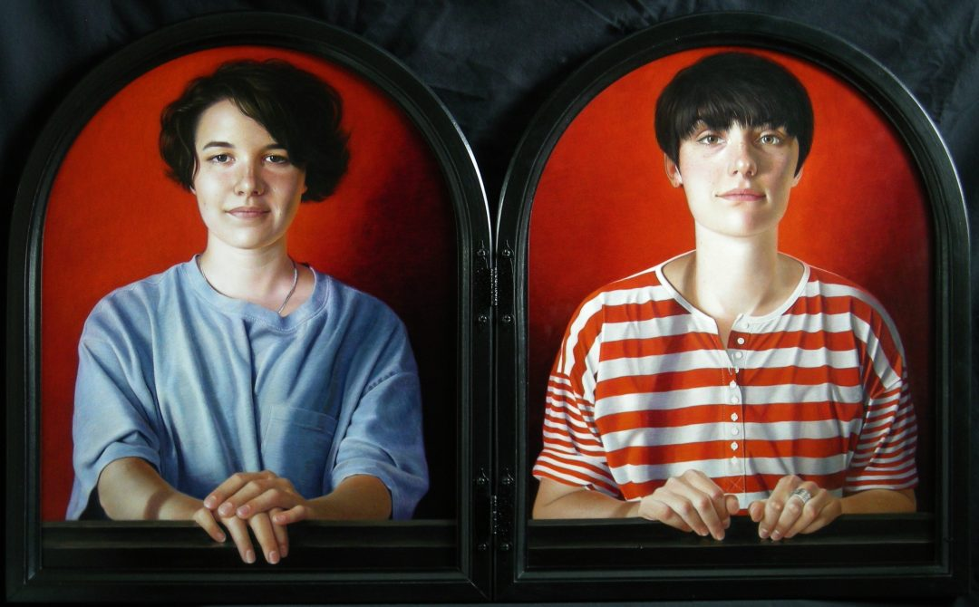 "'Charlotte and Emily' Leslie Watts Egg tempera on Claybord, 2 panels 20 x 16"", 2015 (exhibitor, BP Portrait Award 2015)"